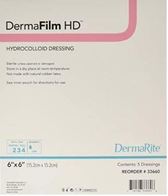 DermaFilm® HD Hydrocolloid Dressing, 6 x 6 Inch MK 1095133