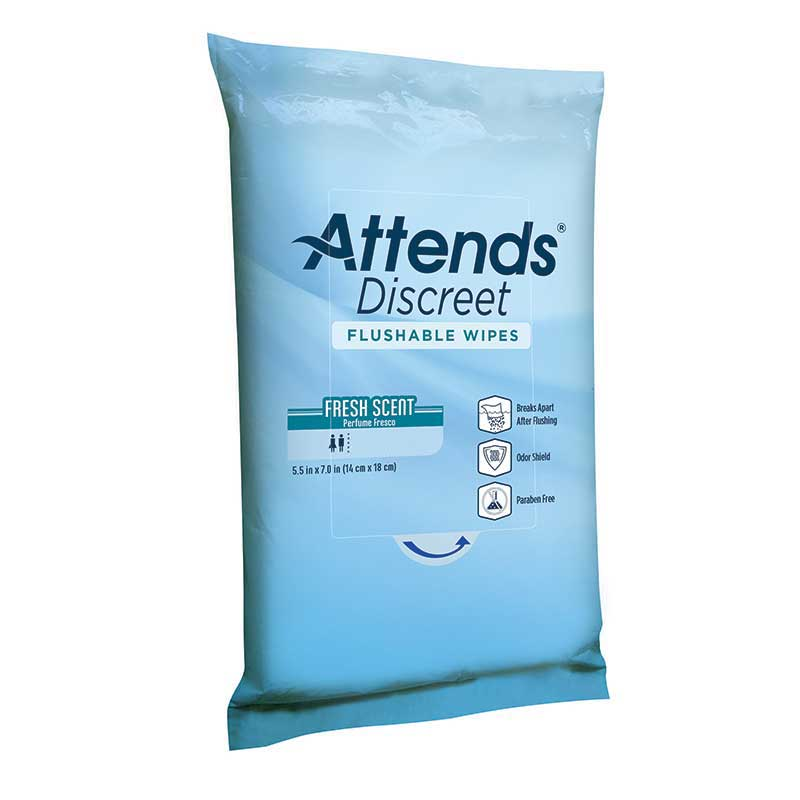 Attends Discreet Flushable Wipes 48ADFW20