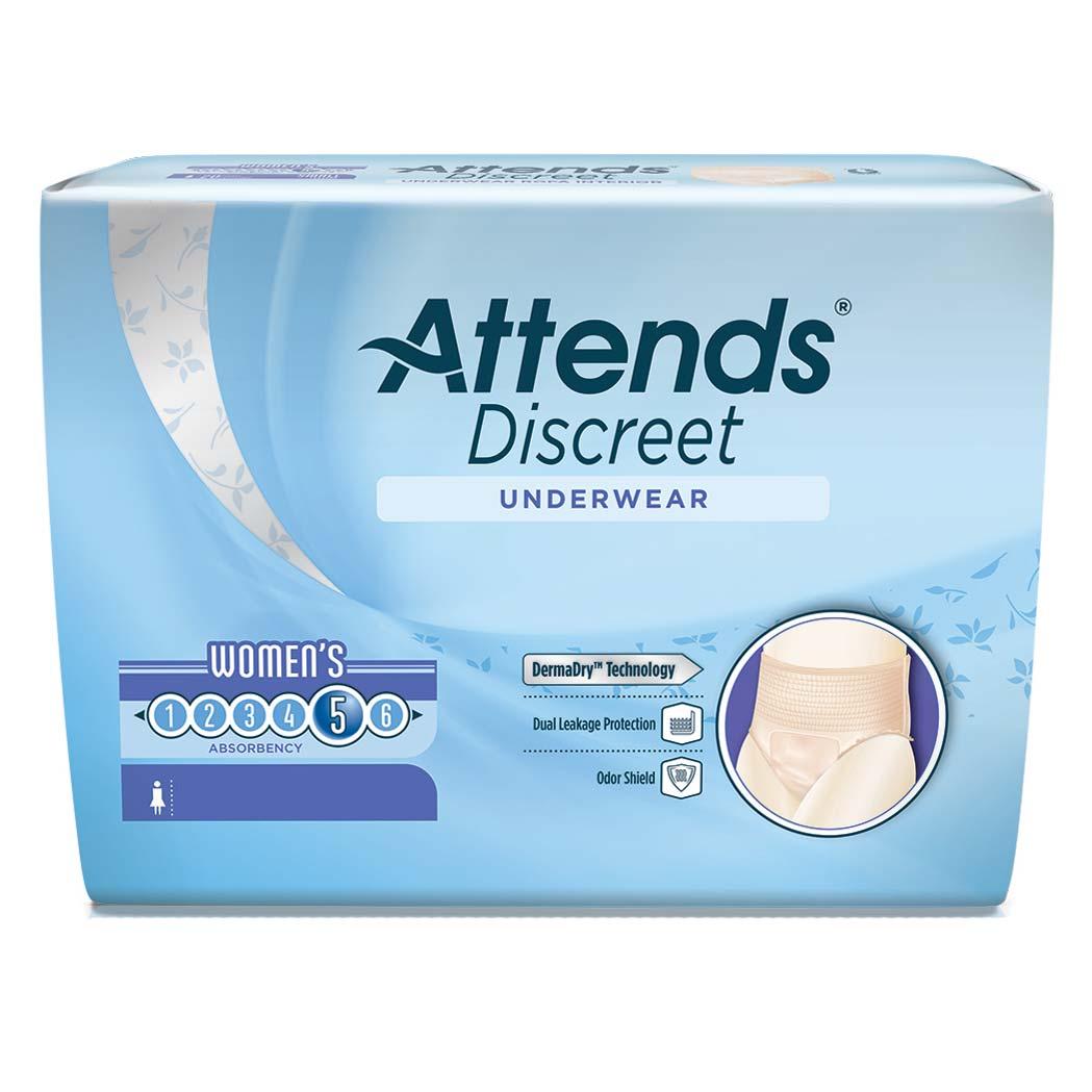Attends Discreet Underwear, Women's Medium Size 8-14 48ADUF20