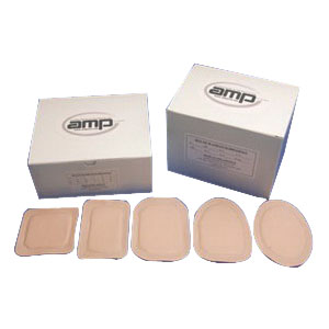 "Austin Medical AMPatch Stoma Cap 1-1/8"" Round Centre Hole with Tan Film Backing, 3"" x 3"", 80 High Absorbency, Latex-free, Hypoallergenic 49NE"