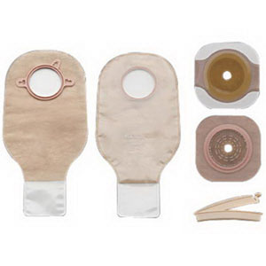 """Hollister New Image® Two-Piece Non-Sterile Drainable Colostomy/Ileostomy Kit 1-1/4"""" Stoma Opening, 1-3/4"""" Flange, Clamp Closure, Ultra Clear 5019102"""