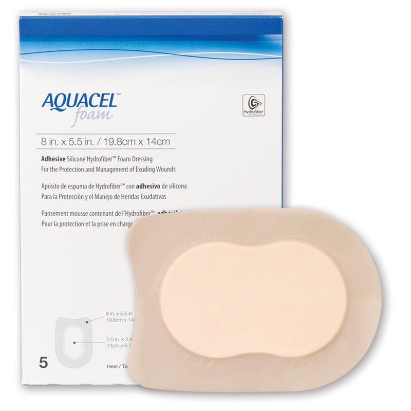 "ConvaTec AQUACEL® Adhesive Gelling Foam Dressing 8"" x 5.5"" Heel Shape 51420625"
