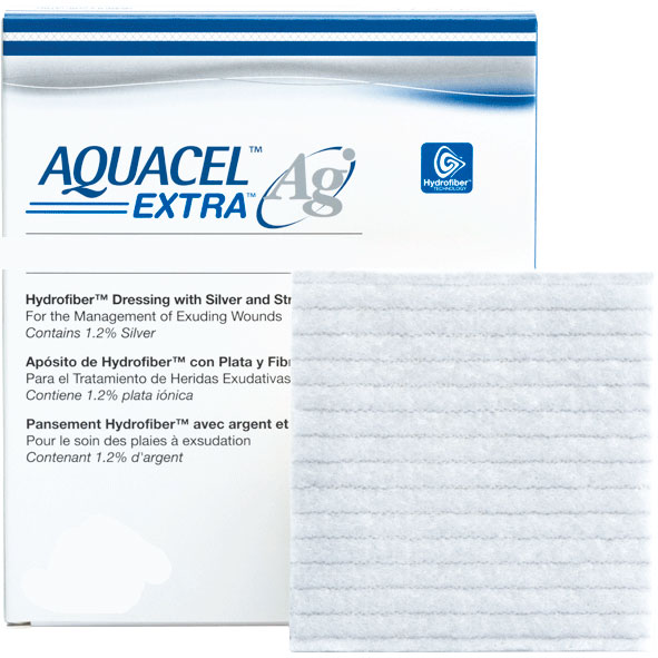 "AQUACEL Ag Extra Hydrofiber Antimicrobial Dressing, 8"""" x 12"""" 51420679"
