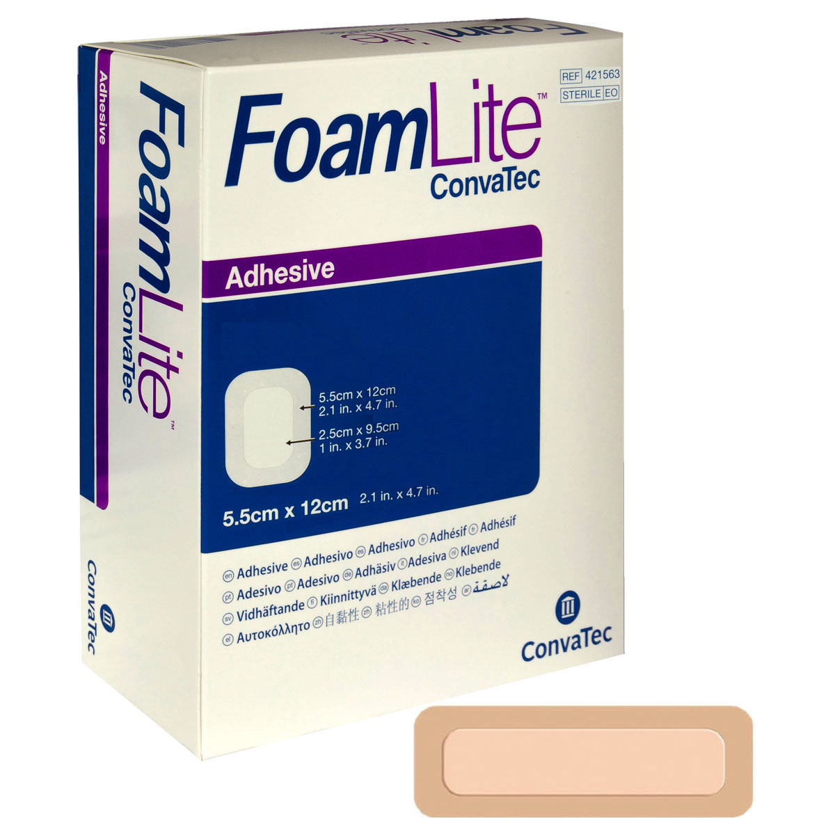 "FoamLite Foam Adhesive Dressing, Rectangle, 2"" x 4.8"" 51421563"