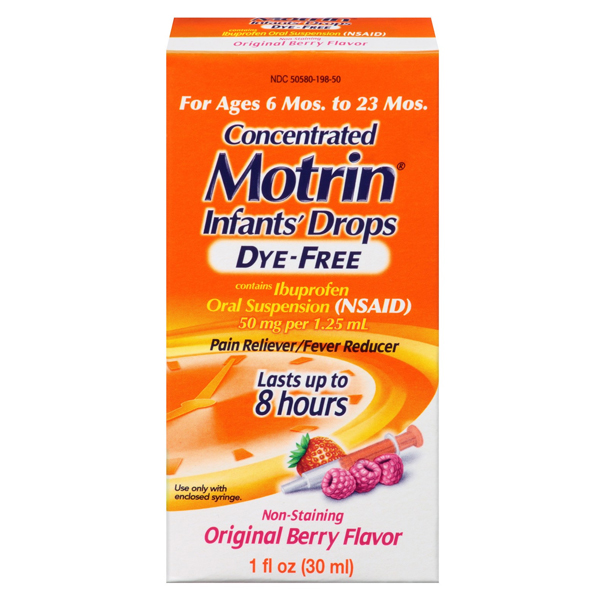 Motrin Pain Reliever/Fever Reducer, Infants' Drops, Berry Flavor, 1 oz 53019801