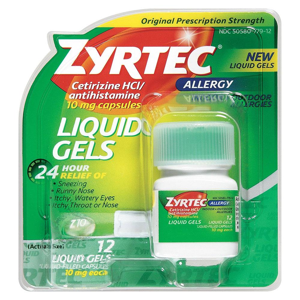 Zyrtec Allergy Liquid Gels, 10 mg Capsule, 25 Count 53020425
