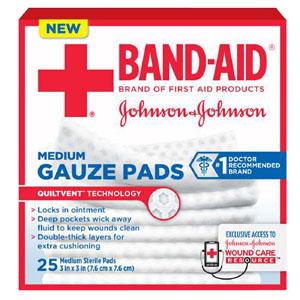 "J & J Band-Aid First Aid Gauze Pads 3"""" x 3"""" 25 CT 53111612600"