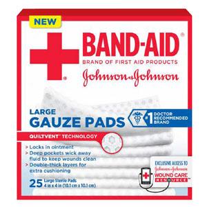 "J & J Band-Aid First Aid Gauze Pads 4"""" x 4"""" 25 CT 53111612800"