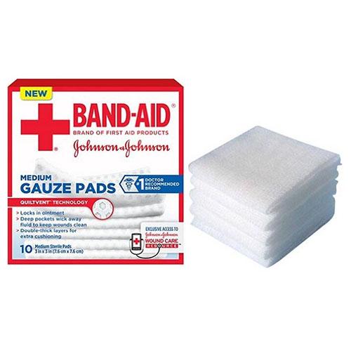"J & J Band-Aid First Aid Gauze Pads 3"""" x 3"""" 10 CT 53111657000"