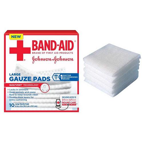 "J & J Band-Aid First Aid Gauze Pads 4"""" x 4"""" 10 CT 53111657100"