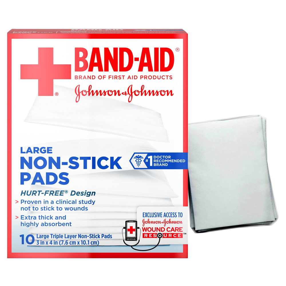 """J & J Band-Aid First Aid Non-Stick Pads, Large, 3"""" x 4"""", 10 ct. 53116143"""