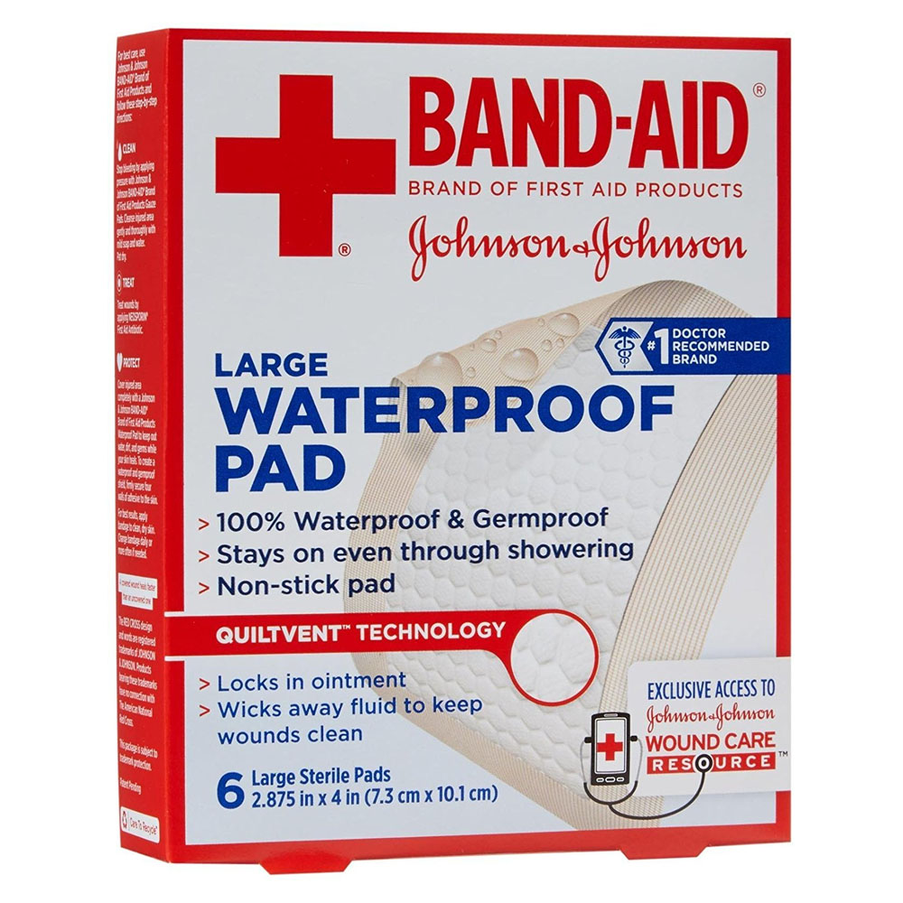 "Band-Aid First Aid Waterproof Pad, Large, 2.875"""" x 4"""", 6 ct. 53116144"