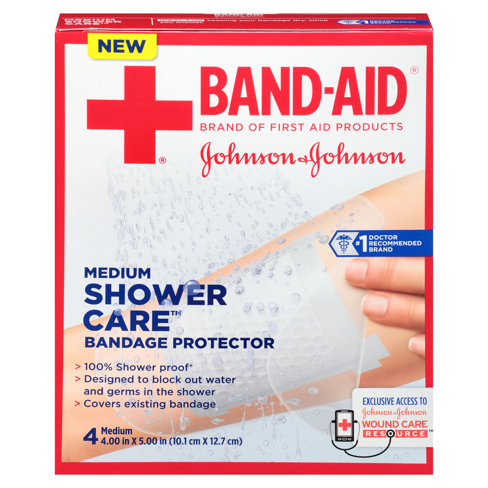 J & J Band-Aid First Aid Shower Care Bandage Protector, Medium, 4 ct. 53116413