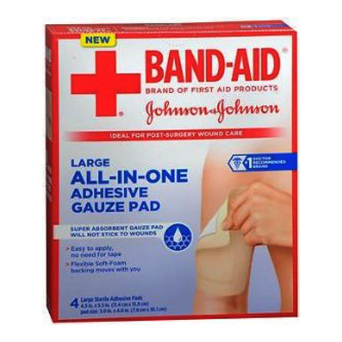 """Band-Aid First Aid Nonstick Gauze Pad, Large, 4.5"""" x 5.5"""", 4 ct. 53116628"""