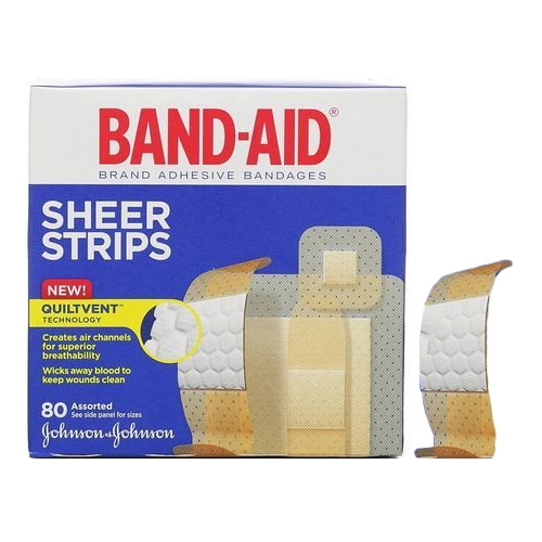 Band-Aid Sheer Strip Adhesive Bandage, Assorted 80 Count 53117134