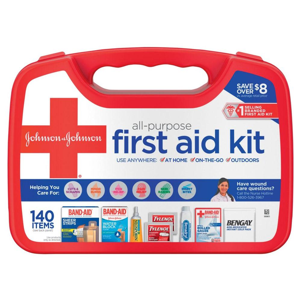 Johnson & Johnson All-Purpose First Aid Kit, 140 piece 53117210