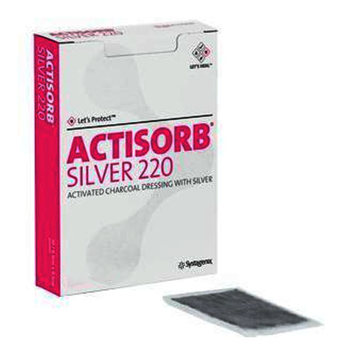 """Systagenix Actisorb® Silver Antimicrobial Dressing Actisorb, Sterile, Adhesive 2-1/2"""" x 3-3/4"""" 53650220"""