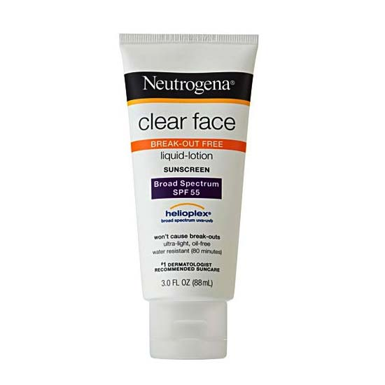 Johnson & Johnson Neutrogena® Clear Face Liquid Sunscreen Lotion, SPF 55, 3 oz 53681108800
