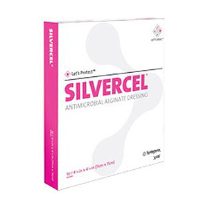 "Silvercel Non-Adherent Antimicrobial Alginate Dressing 4"""" x 8"""" 53900408"