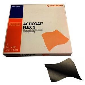 "ACTICOAT Flex 3 Antimicrobial Barrier Dressing with Silcryst Nanocrystals 2"" x 2"" 5466800402"