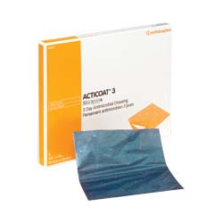 """Smith & Nephew Acticoat™ Flex 3 Antimicrobial Barrier Dressing with Silcryst Nanocrystals 4"""" x 4""""  5466800406"""