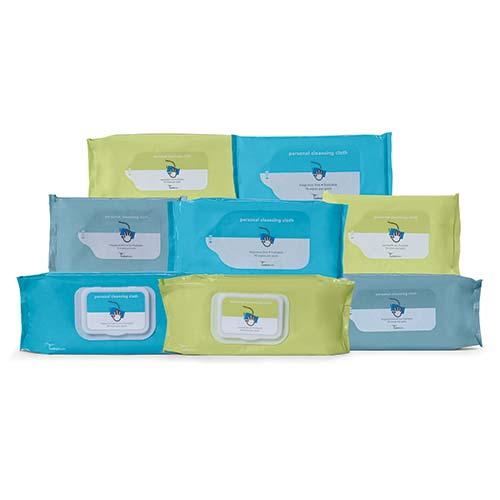"""Cardinal Health Personal Cleansing Cloth, Flushable, Fragrance Free, 9"""" x 13"""" 552AWUF42"""