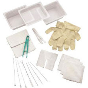 Complete Tracheostomy Cleaning Tray with 2 Vinyl Latex Gloves 554681A