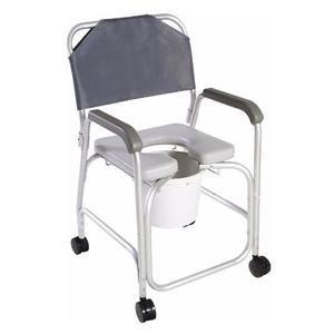 Cardinal Health Aluminum Commode Shower Chair with Back, Locking Casters, 10 Qt 55CBAS0032