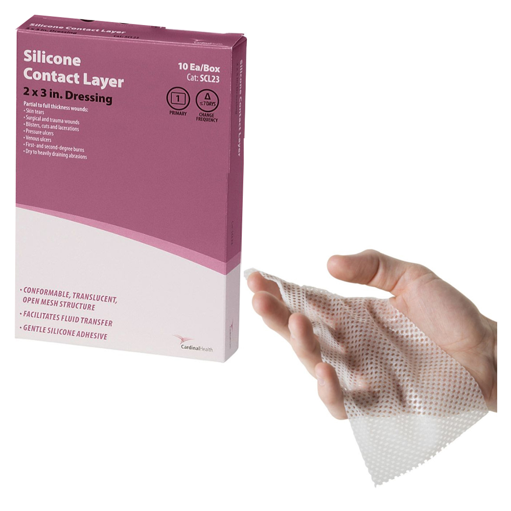 """Cardinal Health Silicone Contact Layer 2"""""""" x 3"""""""", Sterile 55SCL23"""