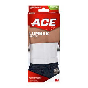 "3M Ace® Unisex Lumbar Support with 6 Rigid Stays, One Size Fits All, 44"" L, White, Lightweight 58208604"