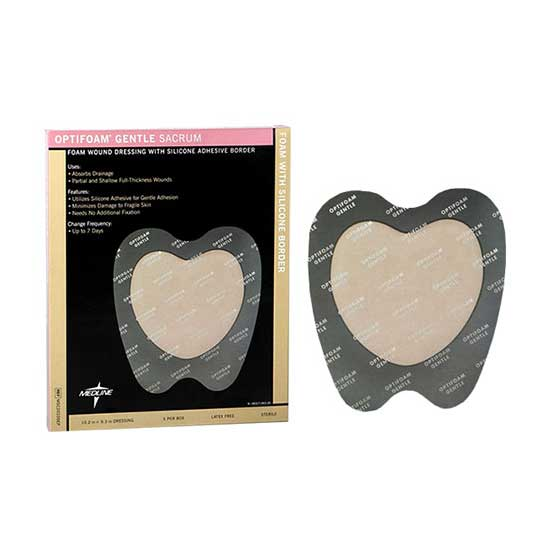 "Optifoam Gentle Silicone Border Dressing, Sacrum Large 10"""" x 9"""" 60MSC20109EPZ"