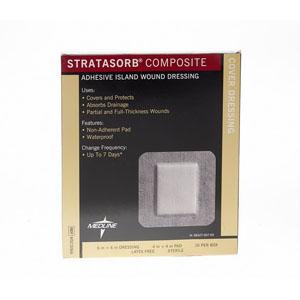 "Medline® Industries Stratasorb® Composite Island Dressing 6"" L x 6"" W, 4"" x 4"" Pad, Latex-free 60MSC3066"