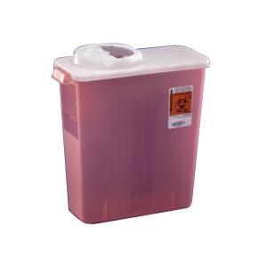 "Monoject™ Chimney-Top Sharps Container 4 Quart, Small, Autoclavable, 10-14/25"" L X 6-3/4"" W X 7-2/25"" H 61676236"
