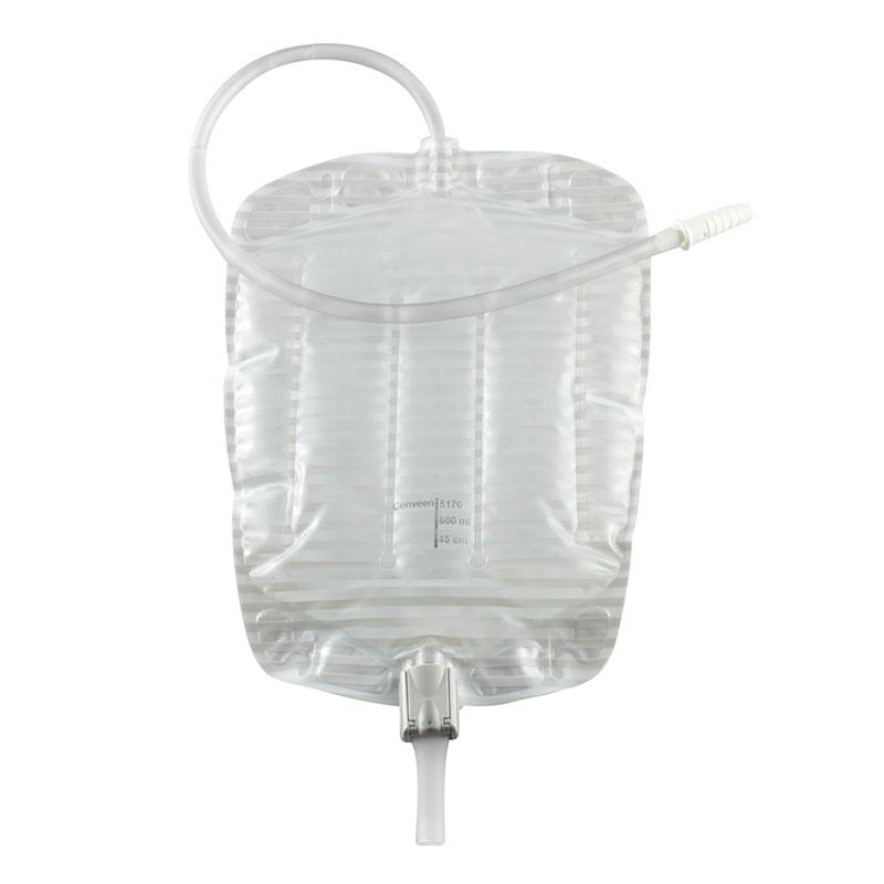 "Coloplast Conveen® Security + Contoured Leg Bag, 21 oz Medium, Pre-Attached 18"" Anti-Kink Tubing, Anti-Reflux Valve, Latex-Free, Soft Cloth Backing 625170"
