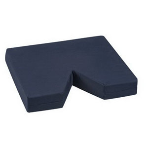 "DMI Coccyx Seat Cushion 16"" x 18"" x 3"" Navy, 6"" V-Shaped Opening, Washable, Latex-Free 648015"