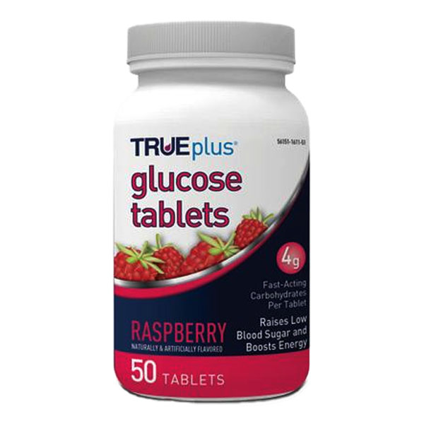 TRUEplus Glucose Tablets 50 count, Raspberry 67P1H01RS50