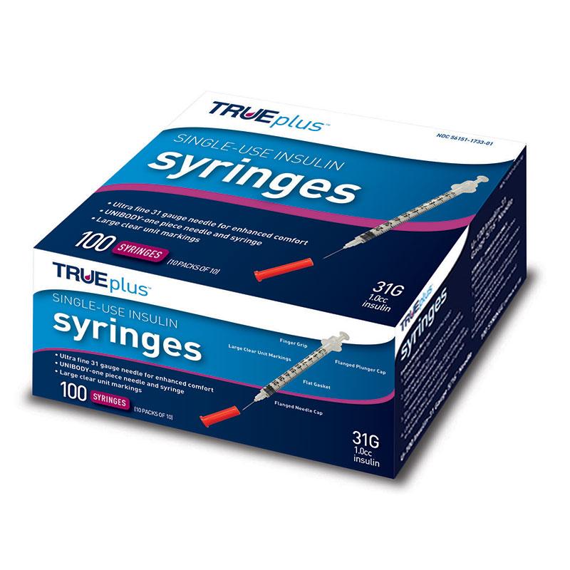 "Trueplus Single-Use Insulin Syringe, 31G x 5/16"""", 1 mL (100 Count) 67S4H01C31100"