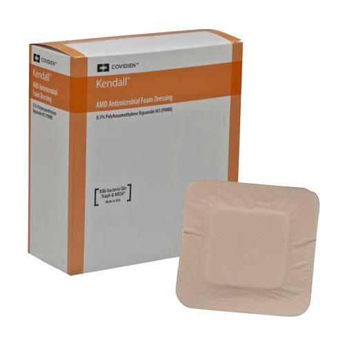 """AMD Antimicrobial Polyurethane Foam Dressing, 4"""" x 4"""" 6855544AMD"""