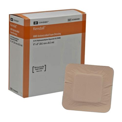 """AMD Antimicrobial Foam Dressing, 8"""" x 8"""" 6855588AMD"""