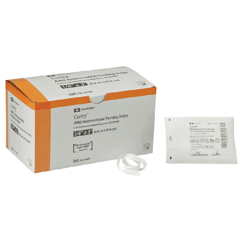 "Curity™ AMD Antimicrobial Packing Strips, Sterile, Contains Plastic Tray 1/4"" x 1 yds  687831AMD"