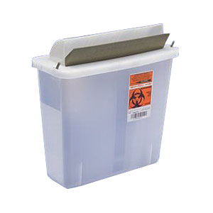 Kendall In-Room™ Sharps Container with Mailbox-Style Lid, 2 Quart Clear 6885021