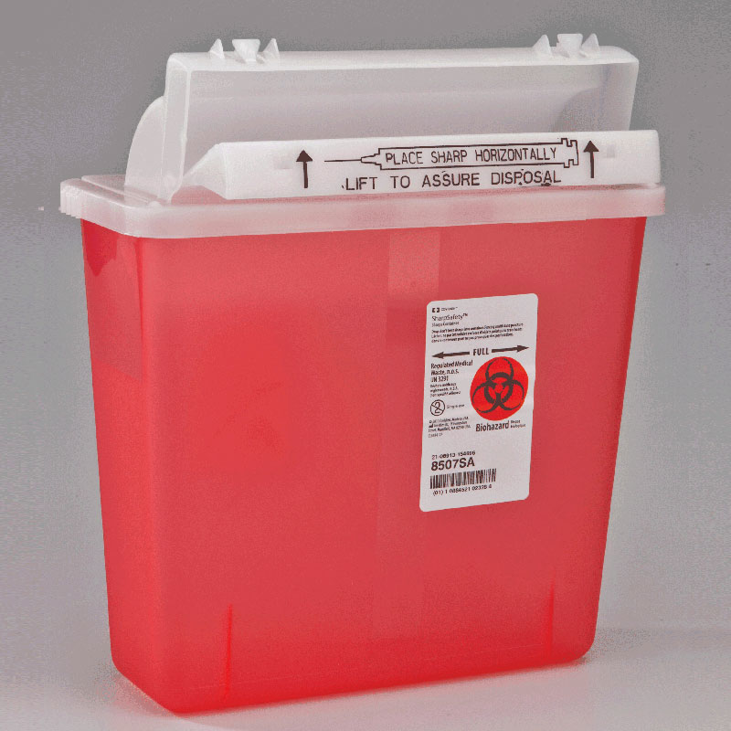 Kendall SharpStar™ In-Room™ Sharps Container with Counter-Balanced Lid, 5 Quart, Transparent Red 688507SA