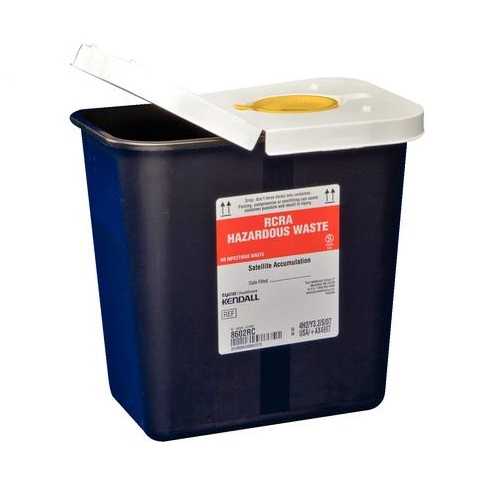 Kendall SharpSafety™ RCRA Hazardous Waste Container, Hinged Lid with Snap Cap, 2GL Capacity, Black 688602RC