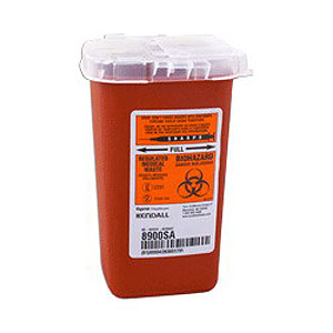 Kendall Healthcare SharpSafety™ Autodrop™ Phlebotomy Container 1 Quart, Red 688900SA