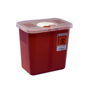 """Kendall Healthcare Multi-Purpose Sharps Container with Rotor Lid 2 gal, 8 qt, Red, 10"""" H x 7-1/4"""" D x 10-1/2"""" W 688970"""