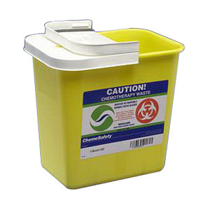 Kendall ChemoSafety™ Container with Hinged Lid, 2 gal, Yellow 688982