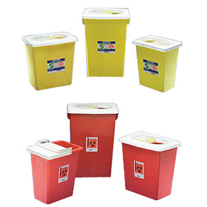 Kendall PGII D.O.T. Compliant Sharps Disposal Container 8 gal, Yellow, Hinged Lid 688985PG2