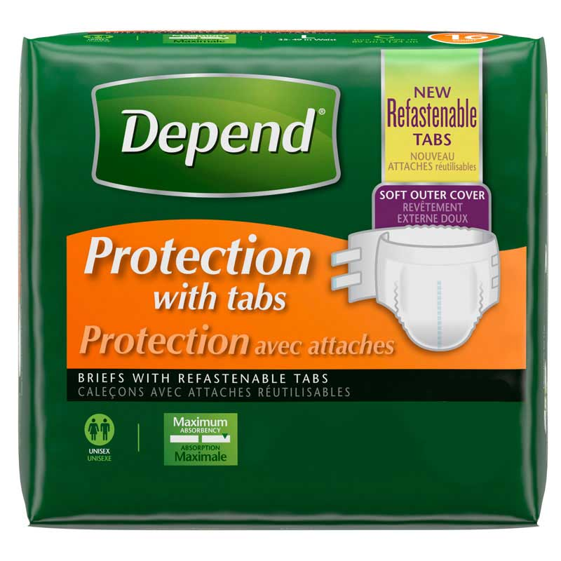 """Depend® Protection with Tabs Incontinence Underwear, Maximum Absorbency 35"""" to 49"""" Waist, Large 6935458"""