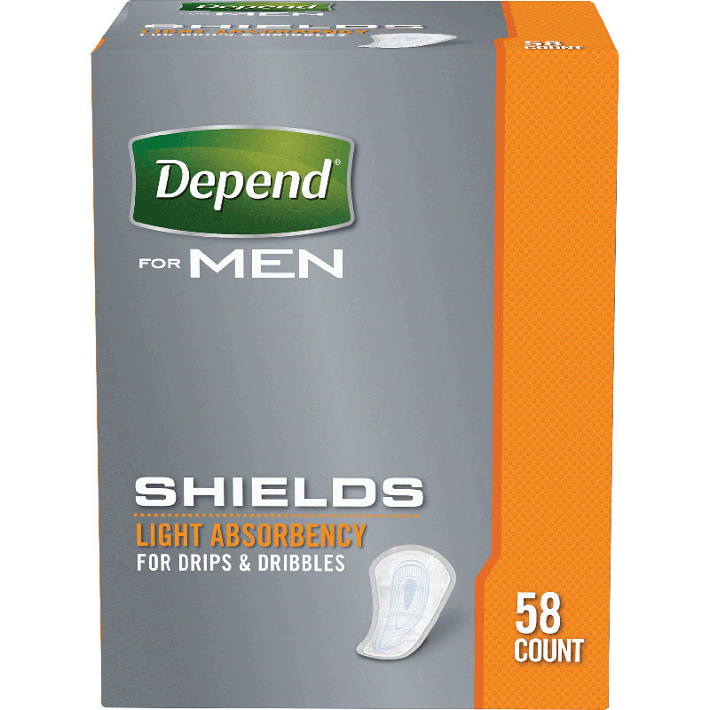 Depend Shields For Men Light Absorbency, One Size Fits Most 6935641