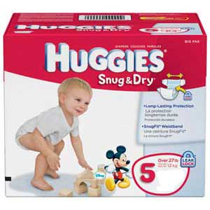 HUGGIES Snug and Dry Diapers, Step 5, Big Pack 6940703